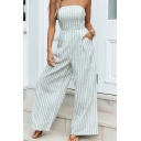 Vintage Womens Jumpsuits Vertical Striped Printed Lace-up Back Loose Fitted Strapless Wide Leg Jumpsuits
