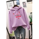 Fashion Strawberry Japanese Letter Graphic Print Drawstring Long Sleeve Relaxed Fit Hoodie