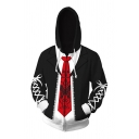Casual 3D Anime Printed Drawstring Pocket Long Sleeve Zipper Loose Hooded Sweatshirt