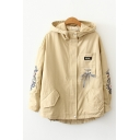 Popular Flower Embroidered Utility Long Sleeve Hooded Zip Up Loose Jacket
