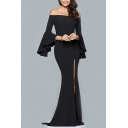 Spring Fashion Off the Shoulder Bell Sleeve Plain Split Front Maxi A-line Dress