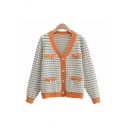 Vintage Womens Striped Print Two-Pocket Button Up V Neck Long Sleeve Loose Knit Cardigan Sweater