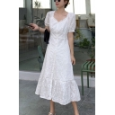 Pretty Ladies Applique Puff Sleeve Sweetheart Neck Button Up Ruffled Trim Mid A-line Dress in White