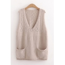 Vintage Womens Plain Two-Pocket V Neck Sleeveless Regular Fit Pointelle Knit Pullover Sweater Tank Top