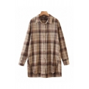 Brown Stylish Tartan Printed Split Hem Single Breasted Turn-down Collar Long Sleeve Relaxed Fit Tunic High Low Shirt for Women
