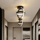 Round Metal Flush Mount Lamp Modern Style Black/White LED Ceiling Light Fixture in Warm/White Light for Porch