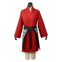 Cosplay Costume Applique Long Sleeve Surplice Neck Tied Patched Longline Wrap Coat in Red