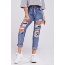 Womens Trendy Jeans High Rise Full Length Zip Placket Holes Pockets Straight Fit Acid Wash Jeans