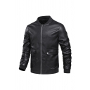 Mens Jacket Creative Flap Pockets Rib Trim Zipper Detail Stand Collar Slim Fitted Long Sleeve Leather Jacket