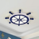 Nautical Rudder Flush Lamp Fixture Acrylic LED Bedroom Ceiling Flush Mount in Blue