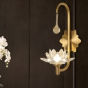 Lotus Beveled Crystal Sconce Lamp Farmhouse 1-Head Bedside LED Wall Mount Light in Brass