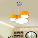 Cartoon Mouse Head Chandelier Light Acrylic Drawing Room LED Ceiling Suspension Lamp in Yellow/Blue/Green