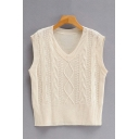 Casual Womens Solid Color Sleeveless V Neck Regular Fit  Cable Knit Fisherman Sweater Vest in White