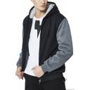 Men's Chic Hoodie Color Block Zip Placket Contrast Trim Pockets Long Sleeve Lined Slim Fit Hoodie
