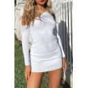 Pretty Solid Color Long Sleeve Oblique Shoulder Mini Sheath Dress for Ladies