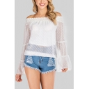 Fancy Ladies Polka Dot Printed Ruched Stringy Selvedge Backless Off the Shoulder Bell Long Sleeve Sheer Mesh Relaxed Fit Blouse Top in White