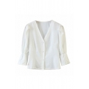 Stylish Womens Puff Sleeve Deep V-neck Button-up Regular Fit Blouse Top in White
