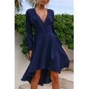 Elegant Womens Solid Color Long Sleeve Surplice Neck Tied Waist Short Wrap Dress