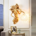 1-Head Crystal Wall Lighting Country Style White/Gold Global Sconce Light Fixture with Resin Girl with Zither Backplate