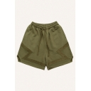 Vintage Mens Shorts Paneled Asymmetric Cuffs Knee-Length Regular Fitted Drawstring Waist Sweat Shorts