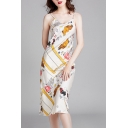 Glamorous Womens Elephant Printed Backless V Neck Spaghetti Straps Sleeveless Midi Sheath Slip Nightdress in Apricot