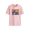 Classic Womens Tee Top Ocean Wave Letter Printed Short Sleeve Regular Fitted Crew Neck Tee Top