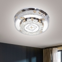 Layered Crystal Flush Mount Fixture Simple Chrome Square Patterned LED Ceiling Flush in Warm/White Light, 19.5