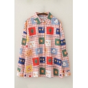 Cool Womens Shirt Fruit Tree Flower Cake Duck Rabbit Bear Gingham Pattern Button-down Long Sleeve Spread Collar Loose Fit Shirt