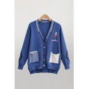 Cartoon Printed Striped Patched Pockets Long Sleeve Deep V-neck Colorful Button Up Relaxed Fit Cute Knit Cardigan