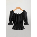 Chic Black Bell Sleeve Square Neck Ruched Regular Fit Blouse Top for Ladies