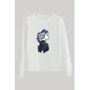 Vintage Character Printed Round Neck Full Sleeve Regular Fitted Pullover Sweatshirt