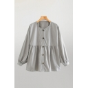 Popular Gray Blouson Sleeve Crew Neck Button Up Ruffled Ruched Loose Shirt Top for Women