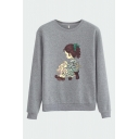 Pretty Cartoon Girl Print Crew Neck Long Sleeve Regular Fit Pullover Sweatshirt