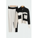 Chic Womens Solid Color Long Sleeve Stand Collar Zip Up Knit Regular Fit Cardigan & Long Slim Fit Pants Co-ords in Black