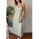 Chic Girls Ditsy Flower Printed Spaghetti Straps Ruched Slit Side Mid A-line Cami Dress in Green