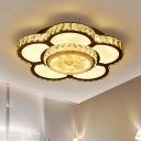 Bloom Clear Crystal Semi Flush Light Simple Chrome LED Ceiling Lighting for Bedroom