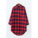 Fancy Ladies Long Sleeve Lapel Collar Button Down Checkered Printed Curved Hem Long Oversize Shirt