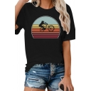 Girls Cool Colorful Stripe Bicycle Printed Short Sleeve Crew Neck Loose Fit T-shirt in Black