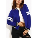Trendy Striped Pattern Long Sleeves Zippered Cropped Women's Baseball Jacket