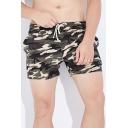 Fashionable Mens Camo Printed Drawstring Waist Pocket Mid Rise Straight Fit Track Shorts