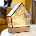 USB Chargeable House Table Lamp Kids Clear Glass Wood LED Nightstand Light with String and Bear Toy Inside