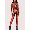 Womens Popular 3D Jumpsuit Skeleton Fire Pattern Zipped Drawstring Long Sleeve Skinny Fitted Ankle Length Hooded Jumpsuit with Pocket