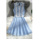 Blue Pretty Hollow Out Lace Gathered Waist Zip Back Round Neck Sleeveless Mini A-Line Dress for Women