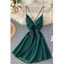 Womens Sexy Plain Pleated Waisted Crisscross Open Back Spaghetti Straps V-neck Sleeveless Mini Camisole Dress