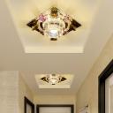 LED Corridor Flush Mount Modern Chrome Ceiling Light Fixture with Flower Clear Crystal Shade