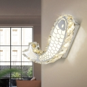 Fish Shaped Clear Crystal Wall Lamp Contemporary LED Chrome Wall Mounted Lighting for Living Room