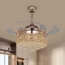 Minimal Teardrop LED Ceiling Fan Lamp Faceted Crystal Living Room Semi Flush Mount Lighting in Rose Gold with 4 Blades, 19