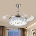 Nordic Round Hanging Fan Light Beveled Crystal Living Room 19
