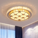 2-Tier Bedroom Ceiling Mount Light Clear and Amber Crystal Modern LED Flushmount in Chrome