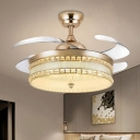 Modern Style Round Flush Light Fixture Crystal Living Room LED Semi Flush in Gold with 4 Blades, 19